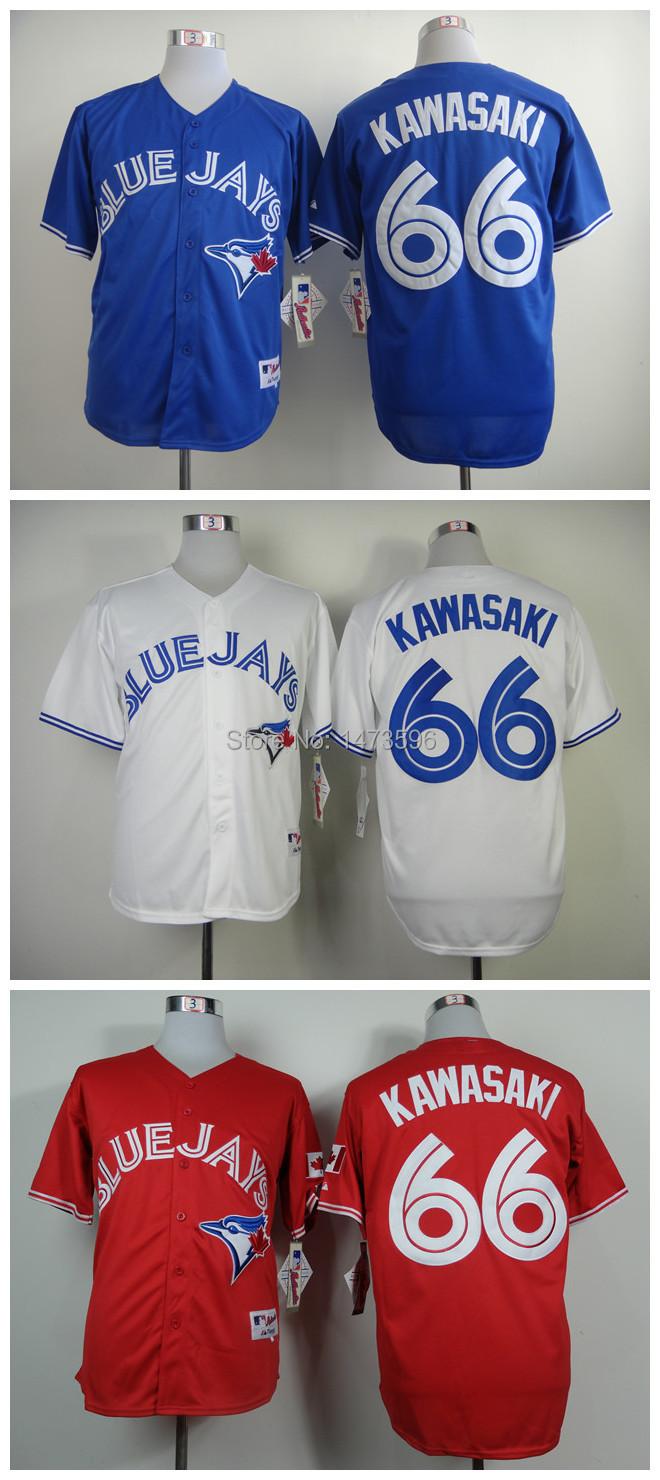 Toronto Blue Jays Baseball Official Style Jersey 66 Munenori Kawasaki w/Blue/Red/White(China (Mainland))