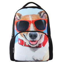 VEEVAN 3D Animal Print Fashion Travel Bags Cool Style Glasses Dog Face Girls Backpacks(China (Mainland))