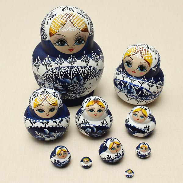 Big Promation New Limited Edition 10pcs/set New Blue Wooden Russian Nesting Dolls Dried Basswood Matryoshka Doll toy gifts(China (Mainland))