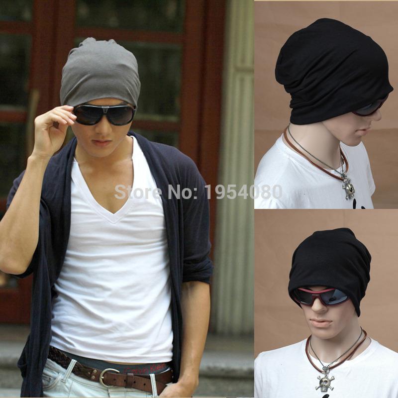 Весна мода мужчины трикотажные зимняя шапка свободного покроя шапочки мужчины женщины сплошной цвет хип-хоп шапочка слауч Skullies капот унисекс кепка