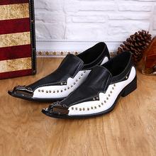 2015 nouveau salon de coiffure chaussures en cuir véritable bout pointu formelle chaussures habillées d'affaires hommes mode parti pointes pointe en métal hommes chaussures(China (Mainland))