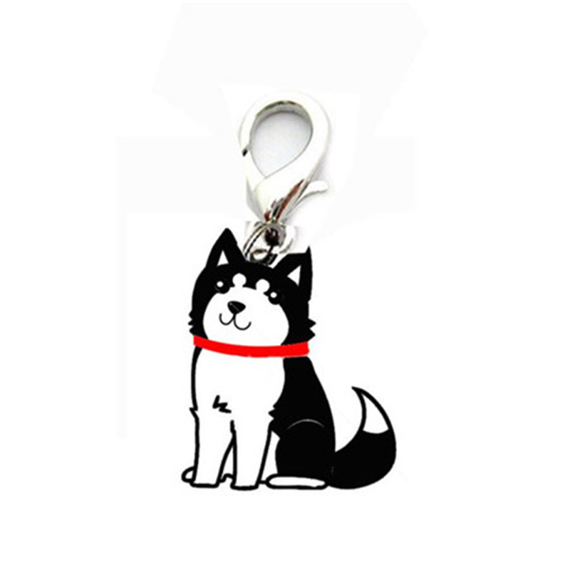 Mini cute black Siberian Husky design pendant tags pet dog supply collar hanging identity item signs for small cat puppy(China (Mainland))
