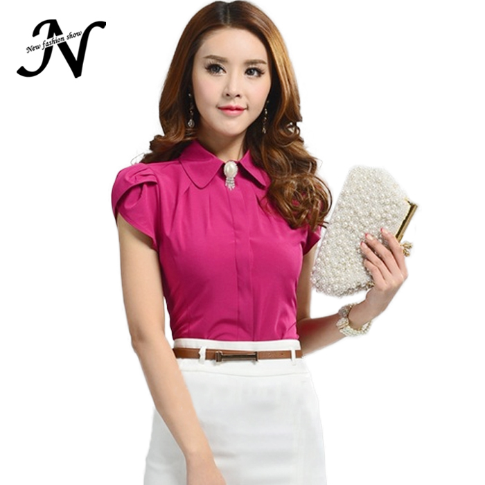 New Lady Office Shirt 2015 Work Wear Women's Tops Butterfly Short Sleeve Turn-Down Collar Rose Red White Women Blouse 2590(China (Mainland))