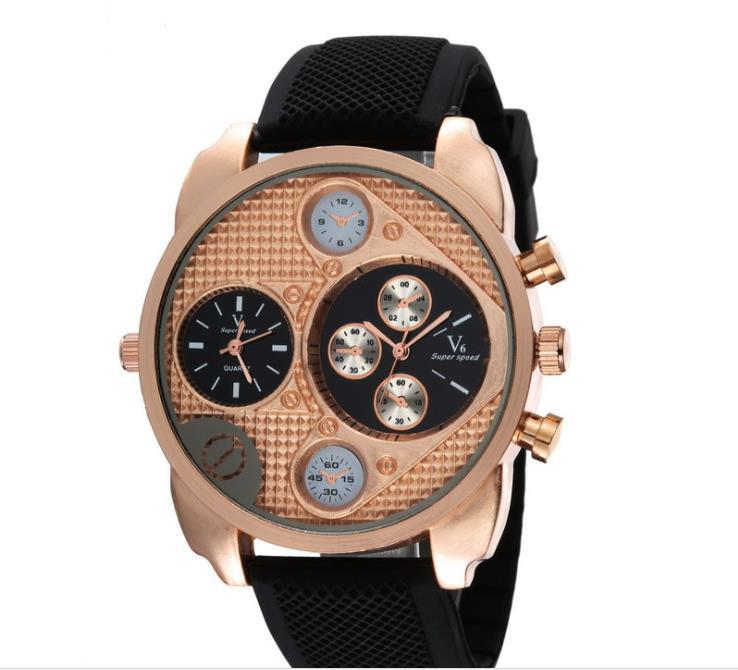 The latest styles trends and second time zone six needle fashion generic male and female students watch silicone big dial watch(China (Mainland))