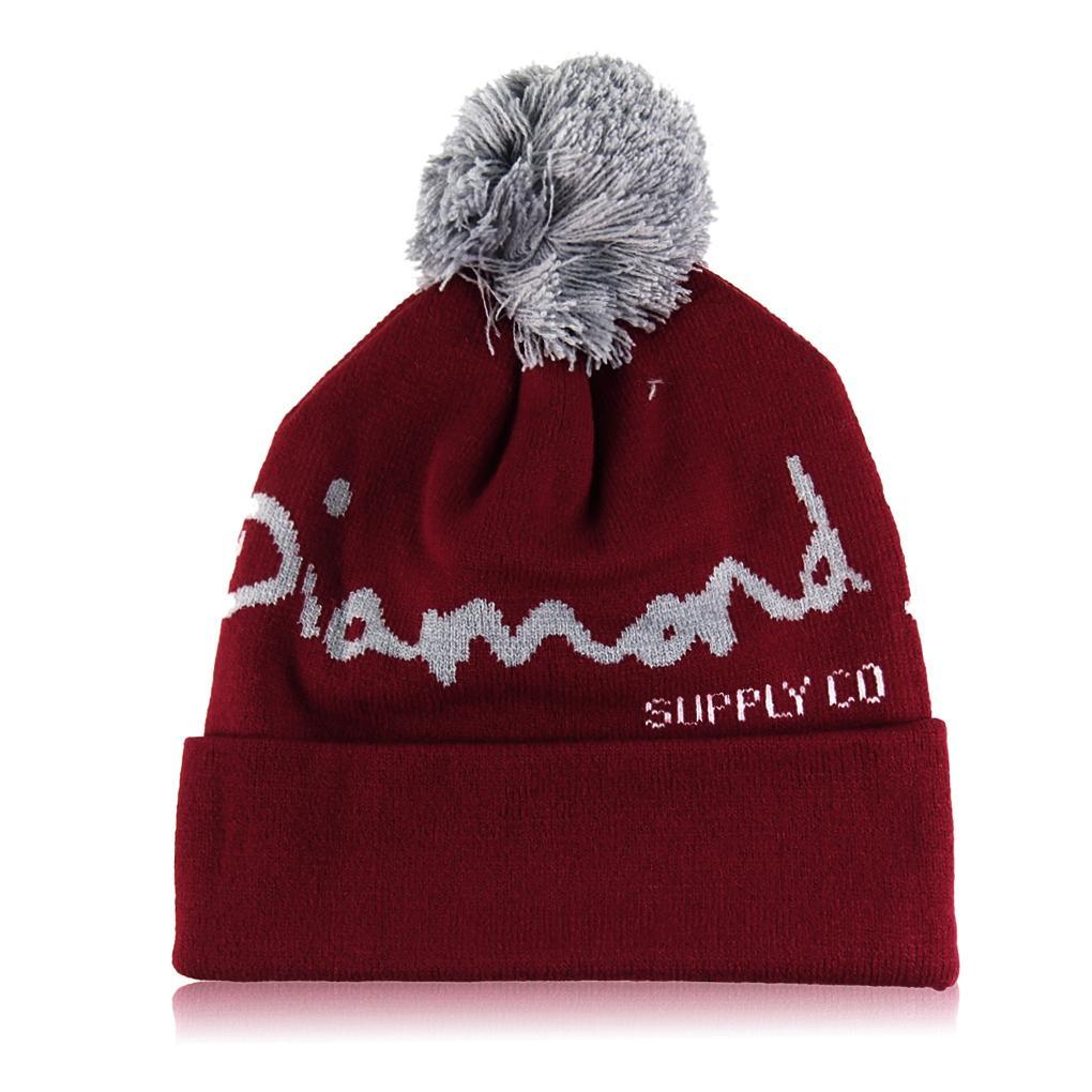 DIAMOND pattern male ladies jacquard wool cap on the ball unisex Hip Hop beanie Hat