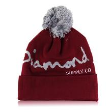 DIAMOND pattern male ladies jacquard wool cap on the ball unisex Hip Hop beanie Hat Autumn Winter knit Cotton Cap