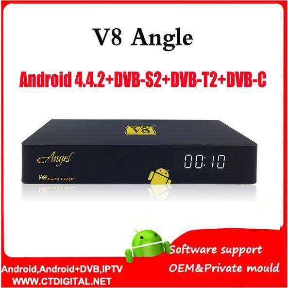 2016 Newest box V8 Angle Android 4.4 +DVB-S2+DVB-T2+DVB-C VS openbox V8 Golden Satellite Receiver V8 Pro Free Shipping