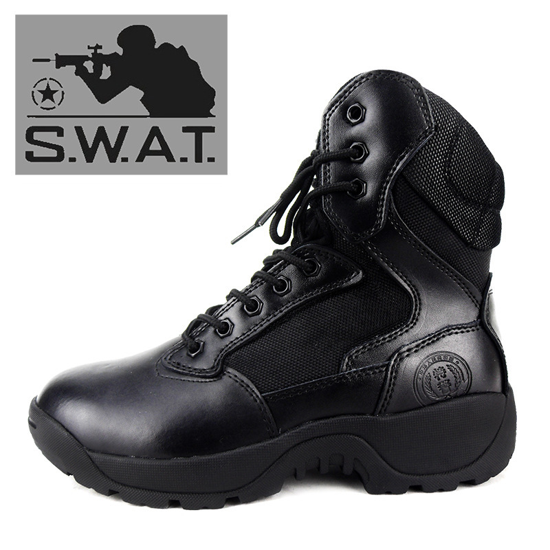 2015 SWAT Us Size 12 High Quality Black Motorcycle Army Ankle Man Military Boots Men Shoes Genuine Leather Riding Winter Botas(China (Mainland))