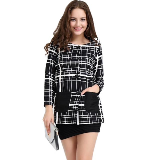 2016 женщин основной пальто весной и осенью женская мода геометрический принт верхняя ...