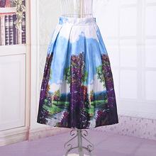 Women's Summer Satin Fashion Skirt Colorful Flower Landscape Printed Skirt Elastic High Waist A-Line Midi Tutu Knee Length Skirt