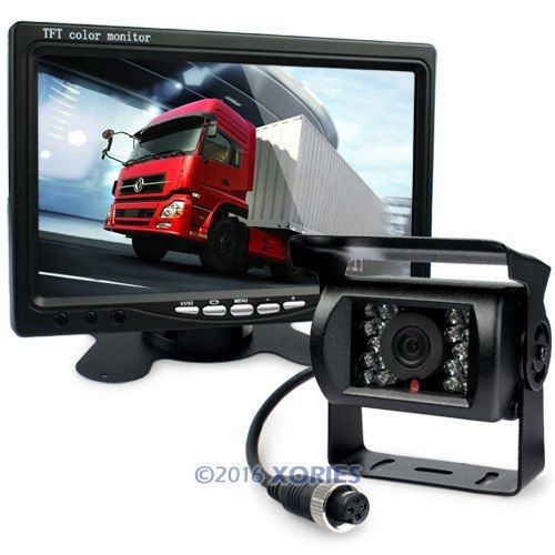 "HOT! Full Truck Trailer Reversing Kit 7"" LCD Monitor Backup CCD IR Camera 12-24V(China (Mainland))"