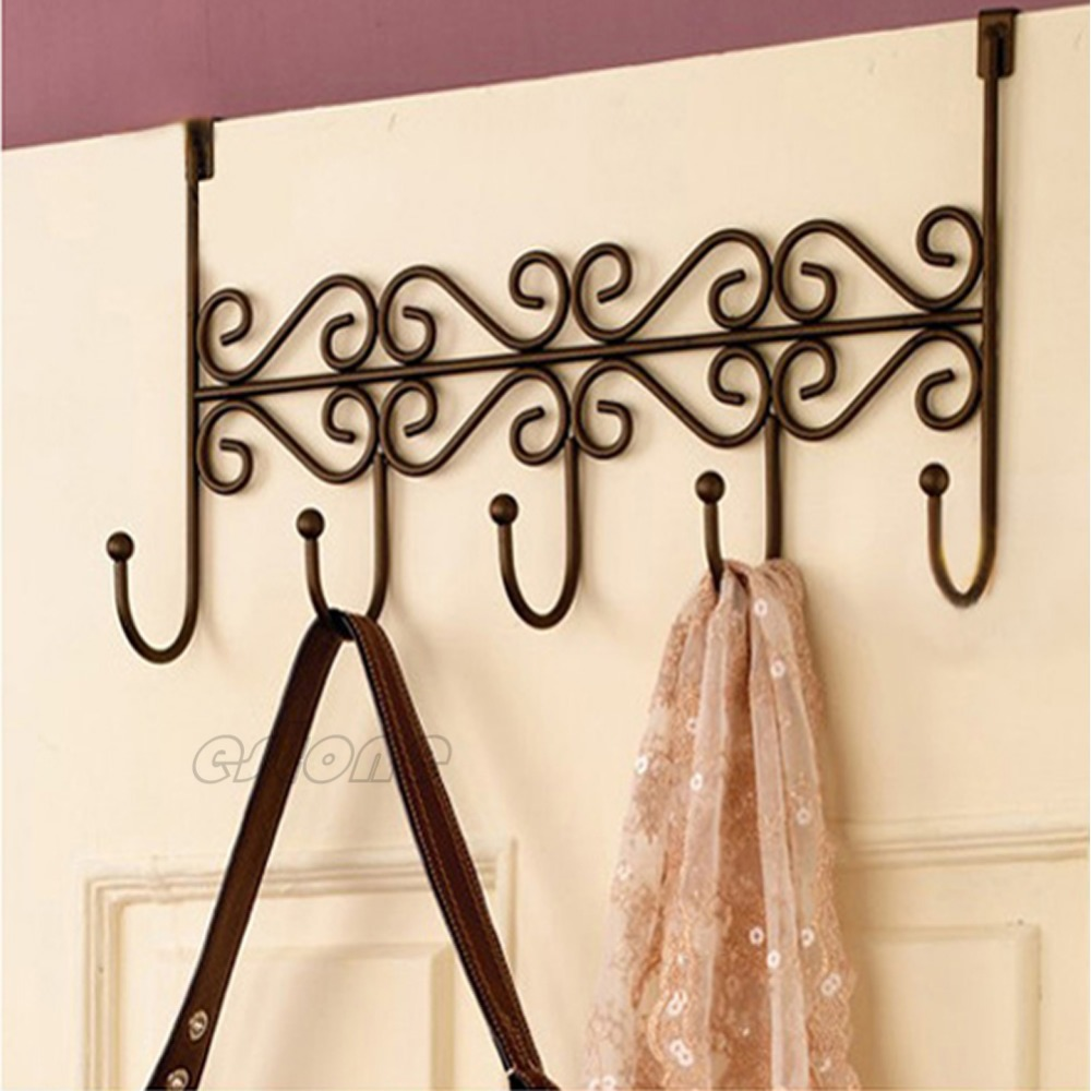 "M112""Hat Bag Towel Coat Clothes Over Door Bathroom Hanger Hanging Rack Holder 5 Hooks free shipping(China (Mainland))"