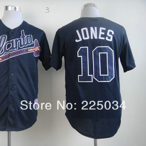 Top Quality Men's American Baseball Jersey #10 Chipper Jones Dark Blue Baseball Jersey Embroidery name and number Size 48-56(China (Mainland))