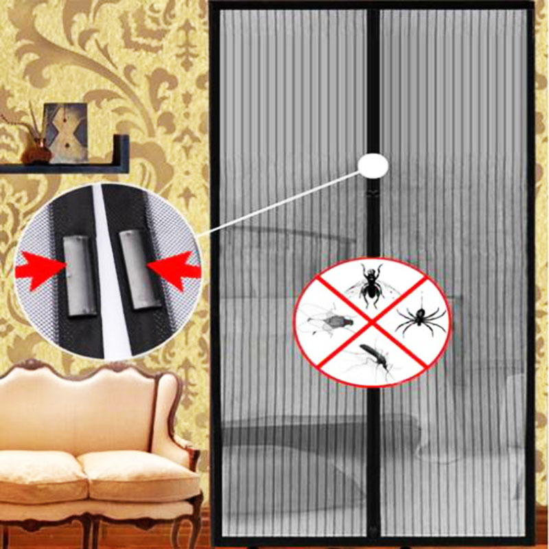 1pcs 210cm L x 100cm W Magic Mesh Hand-Free Screen door curtain window door curtain magnetic stripe summer #ZH044(China (Mainland))