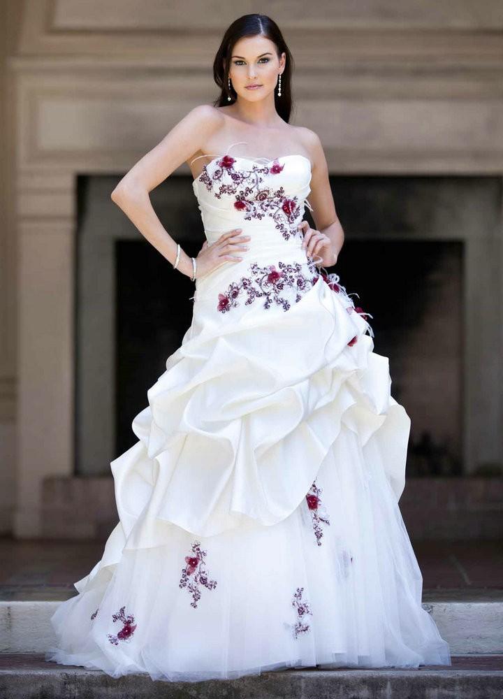 Милая Аппликация Цветы Тафта Белый И Красный Принцесса Линия Готический Свадебные Платья Свадебные Платья Noivas
