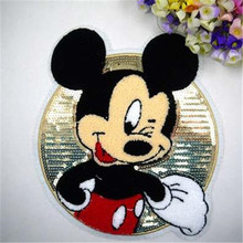 Free shipping women girl clothes cute Sequins patches Mickey logo fashion embroidery patch for clothing patchwork fabric