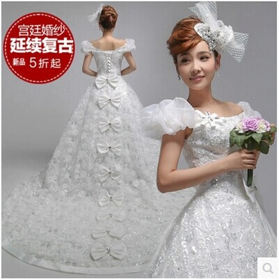 Real Model 2015 Lowest Price White Lace handmade Flower Wedding Dresses royal Train Bridal Tulle - Online Store 207659 store