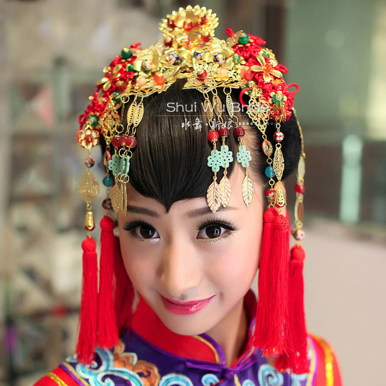 Vintage Chinese Traditional Wedding Jewelry Adorn Hair Accessories Queen Rockhopper Pageant Coronet Tiaras Set Free Shipping<br><br>Aliexpress