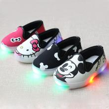 Hello Kitty Children Light  Shoes For Girls Baby Canvas Sneakers Mickey LED Sneakers Kids Shoes For Boys Girls Chaussure Enfant(China (Mainland))
