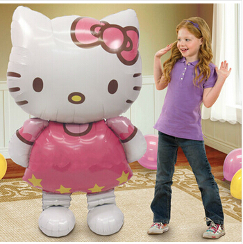 112*65 large size Hello Kitty Cat foil balloons cartoon birthday decoration wedding party inflatable air balloons Classic toys(China (Mainland))