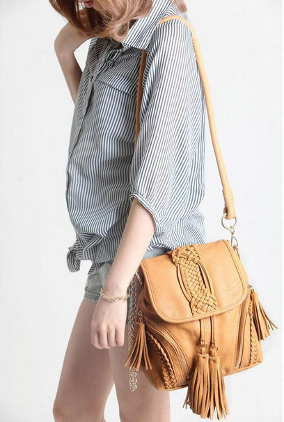 2014 new design Japan and Korean style PU messnger bags with tassel pure hand made bucket bag china retailer with free shipping(China (Mainland))