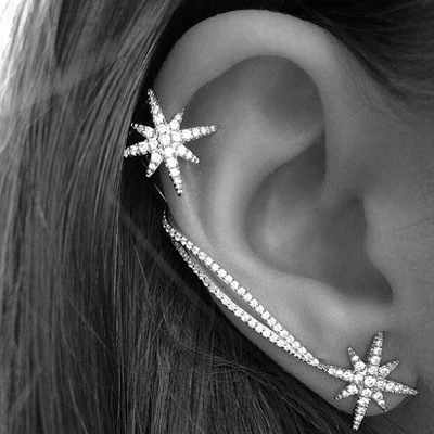 Fashion Korean Cute Zircon Double Side Star Clip Earrings with Stud for Women Girl Crystal Wrap Ear Cuff Earring Jewelry Brincos(China (Mainland))
