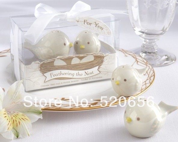 wedding favor love bird ceramic salt and pepper shakers wedding party gifts event and party supplies guest present 100set/lot(China (Mainland))