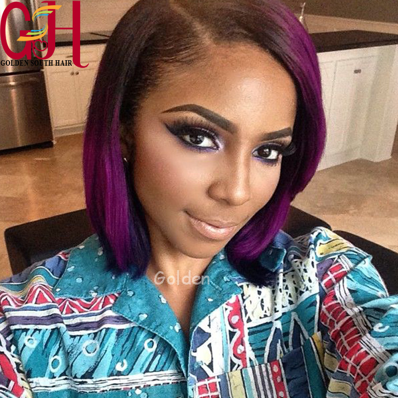 2015 HOT 6A Virgin Hair Short Blonde Ombre Bob Wig Brazilian Full Lace Human Hair Wig Ombre Lace Front Wig Two Tone Color#1bT#27<br><br>Aliexpress
