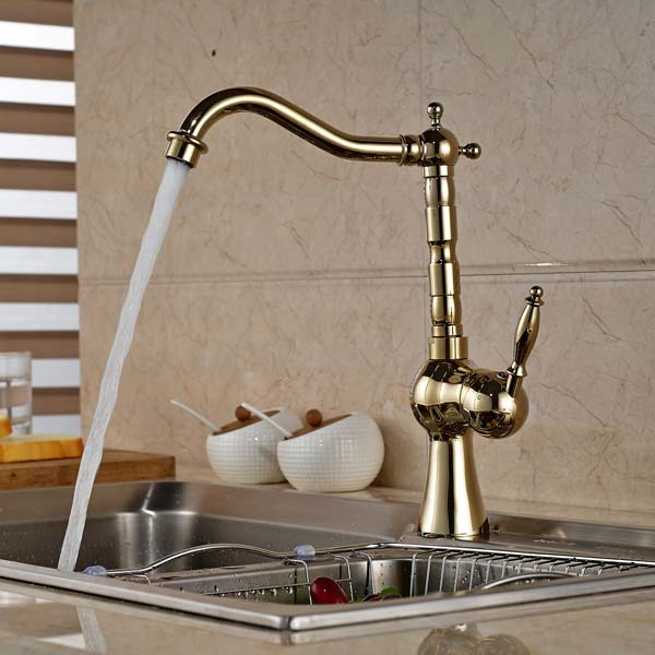 Фотография Luxury Golden Brass Kitchen Faucet Swivel Spout Single Handle Hole Vanity Sink Mixer Tap Hot and Cold Water