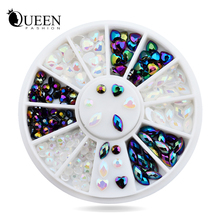 New! White AB Black Glitter Nail Rhinestone Pearls Wheel Round Heart Designs Acrylic Flat Back Charm Nail Art Decorations