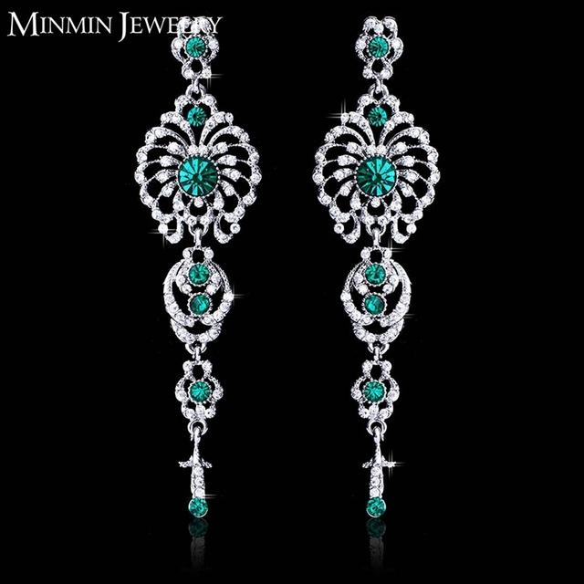 Модное женская ювелирные изделия кристалл посеребренные старинные цветок зеленый серьги свадебный длинные серьги для женщин мода ювелирных изделий EH237