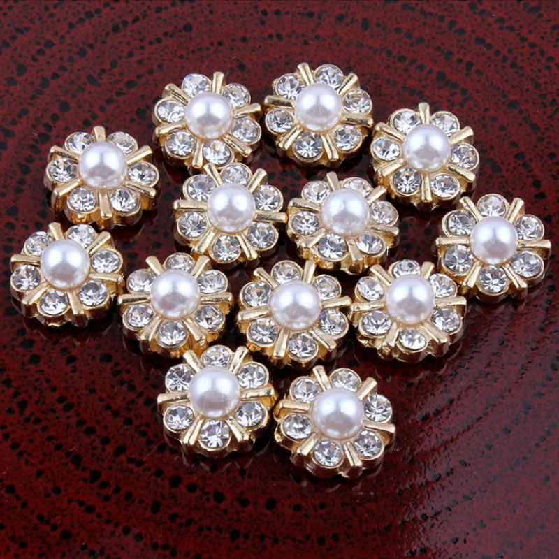 30pcs/Lot 12MM Classic Rhinestone Faux Pearl Buttons Metal Flatback Buttons Silver Sewing Craft Embellishment(China (Mainland))