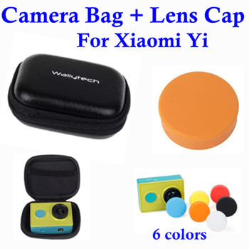 Storage Bag for Xiaomi Yi Camera Waterproof Case Box + Silicone Protective Lens Cap Cover for Xiaomi Yi Accessories Aksesoris(China (Mainland))
