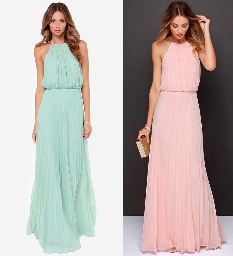 Long evening dresses 2015 elegant pink light blue a line for Long maxi dresses for weddings