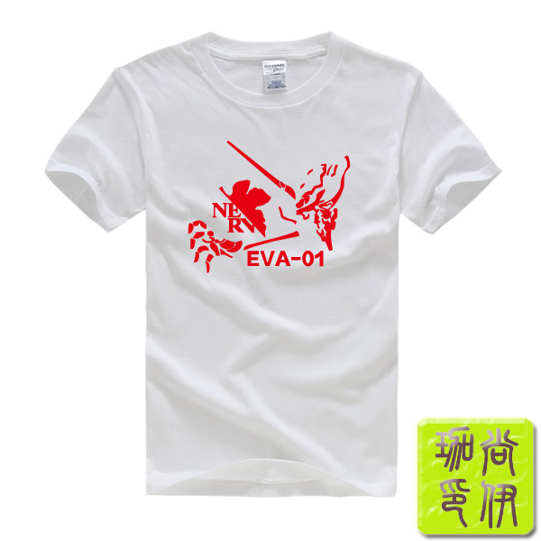 EVA Nerv Neon Genesis Evangelion Anime Printed Men's T-Shirt T Shirt For Men 2015 New Short Sleeve O Neck Cotton Casual Top Tee(China (Mainland))