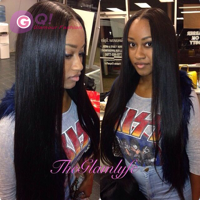 Фотография GQ Top Quality Long Silky Straight U Part Wig Virgin Human Hair 130 Density Peruvian Upart Straight Wigs For Fashion Black Women