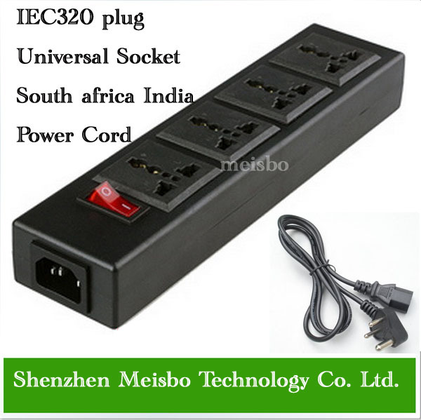 South africa Multifunction 250v 13a 1.8m 4 jack Universal power outlet PDU strip IEC320 plug adaptor India power cord converter(China (Mainland))
