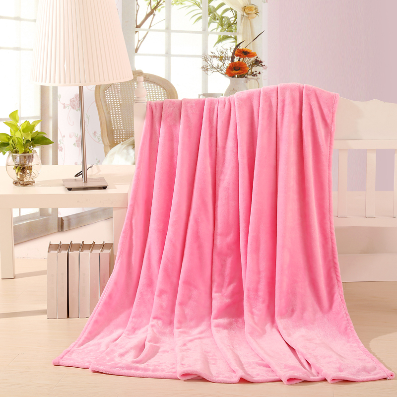 150*200cm 2015 New Summer 100% coral fleece flannel fabric blanket super soft air-condition blanket 6 pure color pink blanket(China (Mainland))