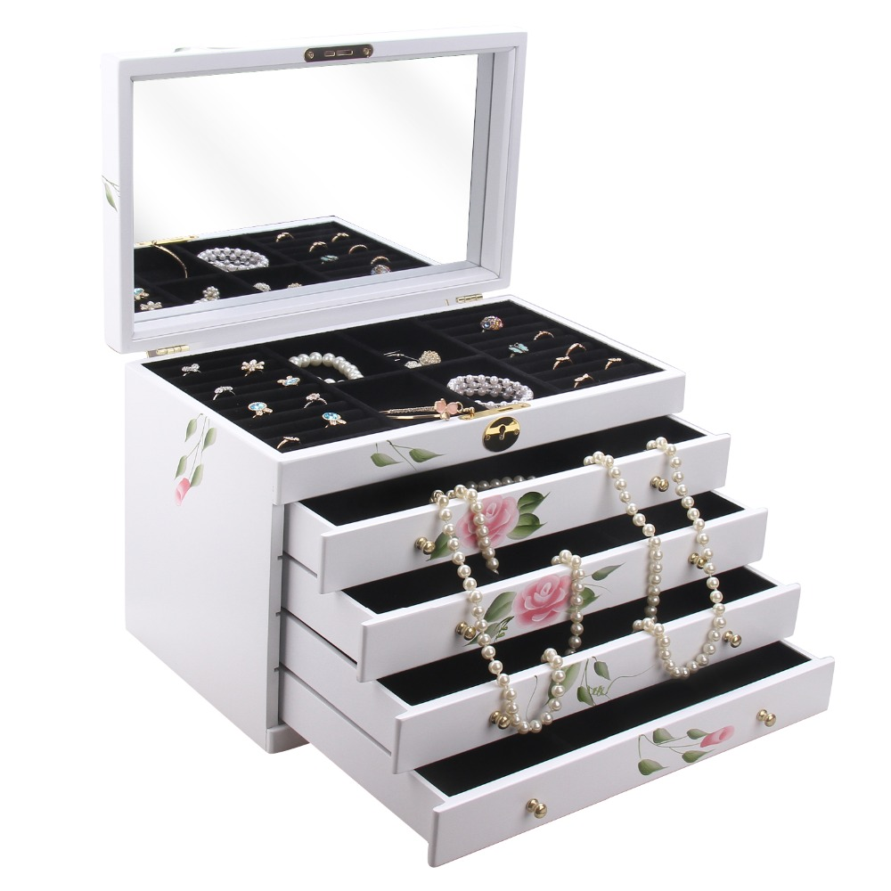 Rowling white wooden jewelry box armoire cabinet costume for Ring case