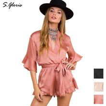 S.gloris Girls Overalls Elegant Short Playsuits Sexy Nightwear Deep V-neck Solid Women Jumpsuit Rompers Summer Fitness