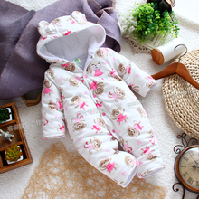 newborn baby boy rompers for spring autumn winter  ,infant fleece cotton-padded romper with monkey pattern baby jumpsuits winter(China (Mainland))
