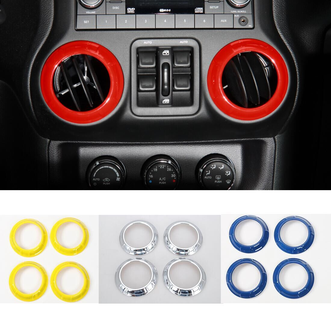 Air Conditioner Vent Outlet Round Ring Cover Trim For Jeep Wrangler  2011 2016 Car Accessories