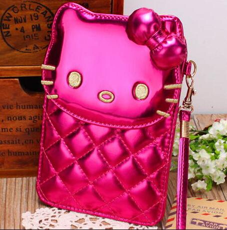 Hello Kitty purse 2015 New Women Gold thread embroidery cute hand carry bag coin phone bag bg042(China (Mainland))