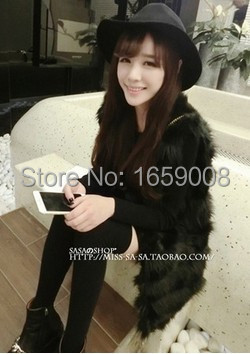 France style Best quality faux rabbit fur coat grey black white color vest 2015 - Factory --support tailor any size store