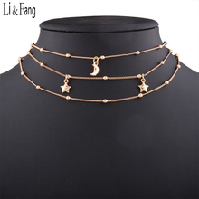 Buy Li & Fang Korean Moon Star Choker Necklace Copper Chain Multi Layer Clavicle Statement Fashion Women Collar Round Necklaces for $3.97 in AliExpress store