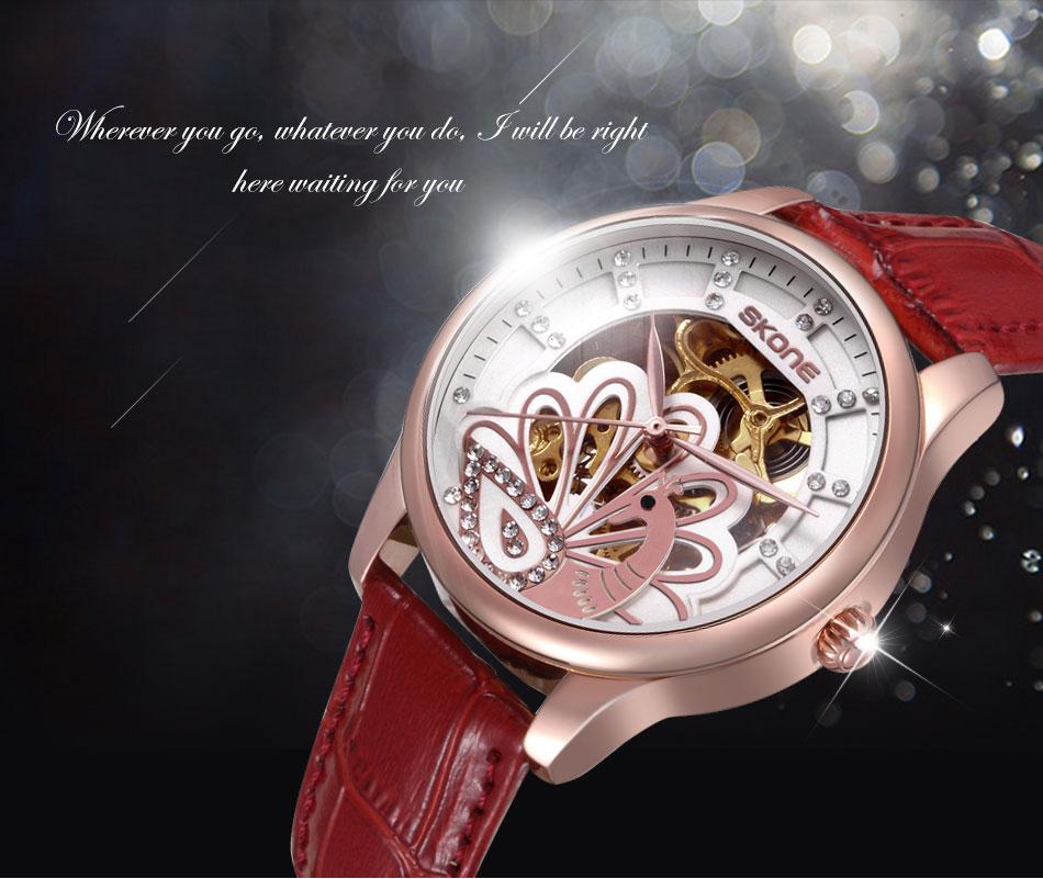 SKONE Марка женщин Автоматическая SelfWind Механические Часы Белый Кожаный Ремешок Дамы Просто Мода Повседневная Часы
