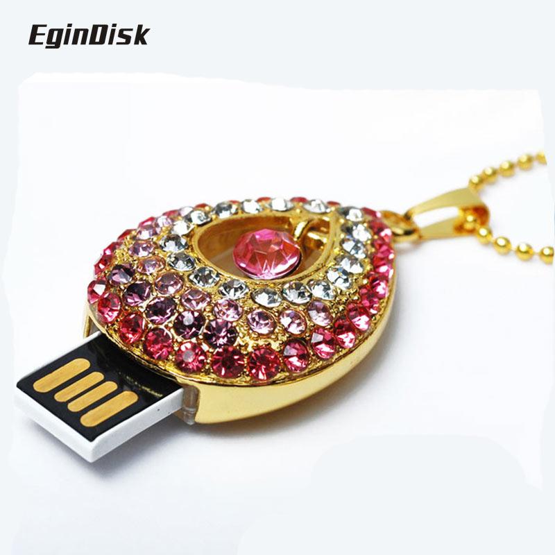 Pendrive Necklace Pendant Usb Flash Drive 32gb Beautifully Gift Crystal Diamond Sweet Heart Memory Stick(China (Mainland))
