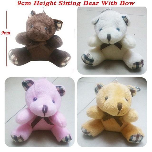<24pcs/lot H=9cm> Fashion Pendant Cartoon Bow teddy Bear Sitting Teddy Bear Doll Cell Phone Pendant Cartoon Plush Stuffed Toy