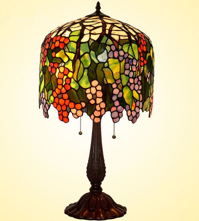 European Retro Table Lamp Grape Stained Glass Living Room Bedroom Bedside Lamps,YSLC-39,Free Shipping(China (Mainland))