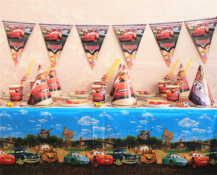 Free shipping cartoon Cars Birthday party supplies disposable plastic table cloth mask cap plate cup blowout straw flags(China (Mainland))